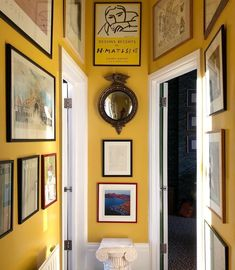 """Luke Edward Hall """"Hallway at home in happy-making spring chick gloss yellow, much needed during grey January (📸 by…"""" Hallway Paint Colors, Paint Colours, Hallway Colour Schemes, Edward Hall, Wall Design, House Design, Hallway Inspiration, Hallway Ideas, Floral Curtains"""