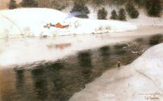 Fritz Thaulow (1847-1906) Winter at Simoa River  ~  Pastel on canvas