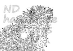 Paisley Doodle lizard N3 animal Pattern Printable Coloring Book Sheet Adults children PDF JPG Instant Download Illustration Clip Art Digital by NDhandMadeCreations on Etsy