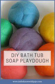 Check out this fun recipe for making bath tub playdough! Bubble bath play dough can be used in the tub and disappears when mixed wit. Bath Tub Fun, Diy Bathtub, Kids Bath, Bubble Bath Homemade, Homemade Baby, Bubble Dough, Kids Bubbles, Bath Recipes, Schaum