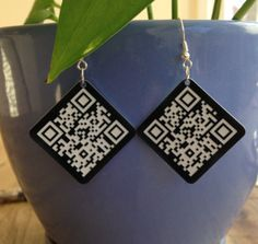 Laser engraved and QR codes?  What could be better!!! - CUSTOM Laser Cut Acrylic Earrings Laser Engraved by Instag8tor
