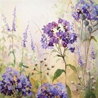 Summer's Day 2 by Judi Trevorrow. Available from Cornwall Art Galleries #purples #flowers #painting