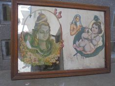 1 Mirror Looking Glass Indian Vintage with the images of Lord Shiva and Baby Lord Krishna in the Glass. India. Love. Hindu Gods. Indian Art. by Lallibhai on Etsy