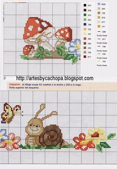 Arte by Cachopa - Ponto Cruz I: Gráficos de cogumelos:
