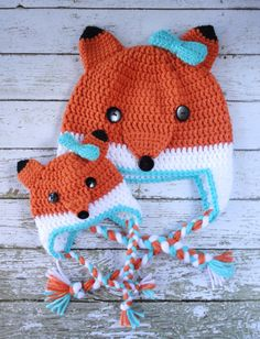 Fox Child and American Girl Doll/18 inch Doll Matching Hat Set on Etsy, $35.00
