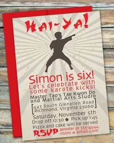 Fun, modern karate party invitation