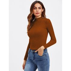 Turtleneck Ribbed Knit Sweater (€9,33) ❤ liked on Polyvore featuring tops, sweaters, rust, long sleeve pullover, white long sleeve top, long sleeve turtleneck, white sweater and slim fit sweaters