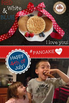 Happy 4th of July! Pig out and eat pancakes! Make it a special breakfast to start your day with Pancake Presents Pancakes! #PancakeLove #redwhiteandblue #PatrioticPancakes