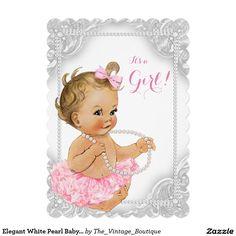 Elegant White Pearl Baby Girl Shower 5x7 Paper Invitation Card