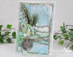 Shabby Chic mixed media handmade card by Pamellia at My Little Craft Things blog. I love this so much.