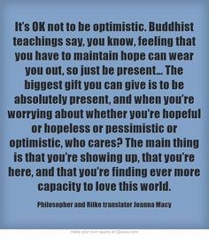 It's OK not to be optimistic. Buddhist teachings say, you know,...
