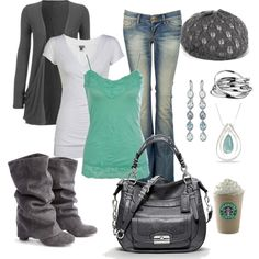 """Love the Tiffany Blue/Grey Combo :)"" by chelseawate on Polyvore"