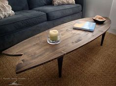 wooden surfboard coffee table. rustic pallet coffee table