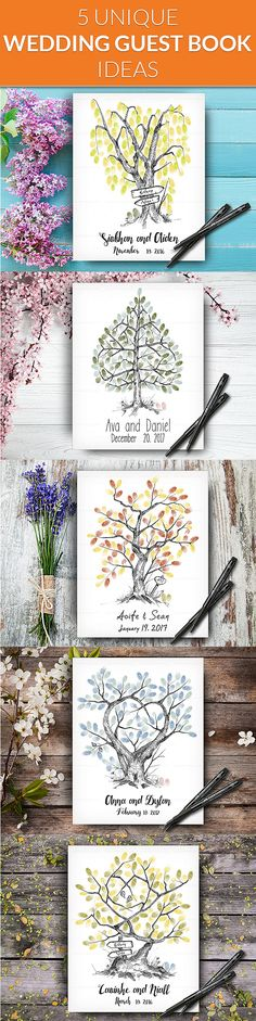 Hand Drawn Personalized Fingerprint Wedding Trees by LoveArtDesign Wedding Tree Guest Book, Guest Book Tree, Tree Wedding, Fingerprint Wedding, Fingerprint Tree, Wedding Posters, Guestbook, Personalized Wedding, Unique Weddings