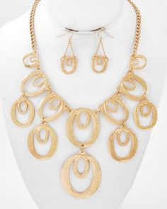 Gold Tone / Lead Compliant / Metal / Charm Necklace & Fish Hook Earring Set