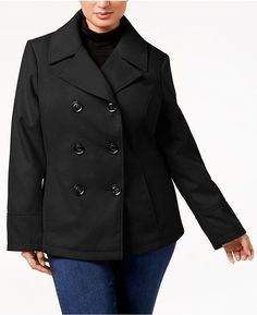 7a2aedf67de Celebrity Pink Trendy Plus Size Double-Breasted Peacoat Plus Size Peacoat
