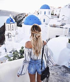 Lulunina Off-Shoulder Long Sleeves Top - Travel Trends Vacation Outfits, Summer Outfits, Cute Outfits, Vacation Pics, Travel Outfits, Vacations, Santorini Greece, Mykonos, Santorini Travel