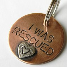 I WAS RESCUED Pet Tag Copper and Sterling Silver Dog by UrbanPuppy