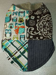 Dog Cat Pet Thirty-One Fabric Swatches Patchwork Jacket w/ Harness Hole Size S #Handmade