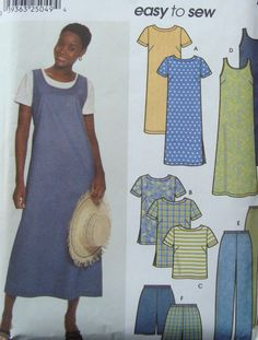 Dress Tunic Top Pants And Shorts Sewing Pattern/ easy to sew Simplicity 9754 Misses Size 16-18-20-22-24/ Plus Size/summer coordinates by RedWickerBasket on Etsy