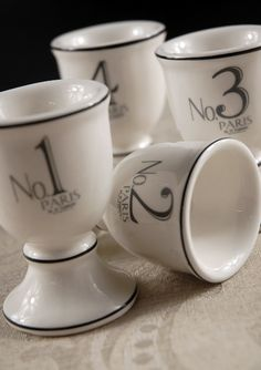 Set of Four Porcelain Oef Cups each is Numbered 1-4 (4 cups) $13