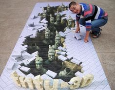 Amazing Examples of 3D Chalk Arts by Hou from China