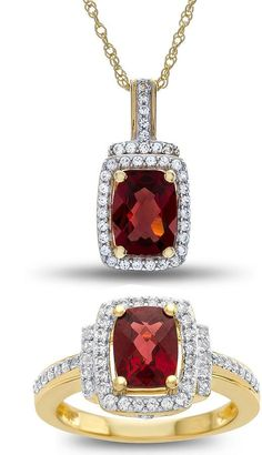 Fine Jewelry Lab-Created Ruby & White Sapphire Sterling Silver 2-pc. Boxed Jewelry Set A6JW2Tca