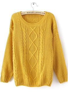 Yellow Round Neck Broken Stripe Cable Sweater