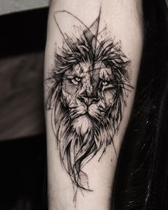 Lion Done at @ Killer Silver Ink - Lion Tattoo . - Lion Done at @ Killer Silver Ink – Lion Tattoo – # - Tribal Lion Tattoo, Lion Head Tattoos, Geometric Lion Tattoo, Lion Tattoo Design, Wolf Tattoos, Black Tattoos, Body Art Tattoos, Small Tattoos, Sleeve Tattoos