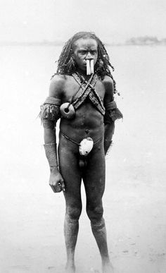 Papua (Indonesia) ~ Merauke Regency | Portrait of a married Marind man at the Merauke river | ca. 1902 | Mr W Zweets de Jong