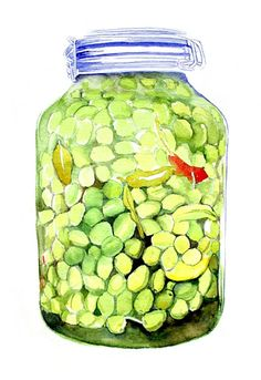Art Print of Original Watercolor Painting--Jar of Olives--Food Kitchen Decor