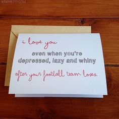 Football Card / Love Card / Boyfriend Card / Husband Card / Sports Greeting Card / Unique Card / Anniversary Card on Etsy, $4.25 @house6creations you need this for Jon! Lol
