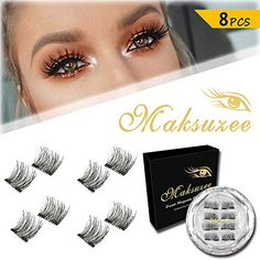 0b7d27f3be5 Maksuzee Magnetic Eyelashes Dual Magnets False Eyelashes NO Glue Fake Lashes  Extension, Natural Look 8 Pieces pair