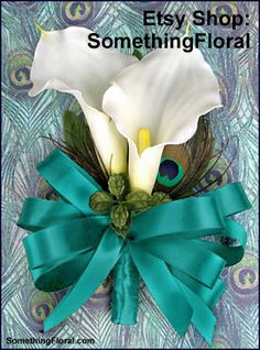 Realistic, artificial calla lily and peacock feather corsage with turquoise teal…