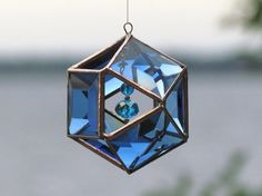 3D Faceted Blue Glass Mobile Globe Suncatcher  by SNLCreations, $45.00