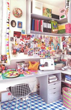 Crazy crafting space. I wish this was mine! This is my dream room