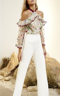 LOVE!!!!   My spring obsession. Kylie Embroidered Cold Shoulder Top by ALEXIS for Preorder on Moda Operandi