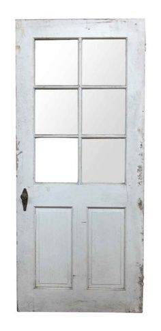 Six Glass Panel White Wood Door