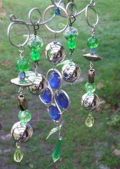 Garden Sparkle Green Blue and Silver Windchime or Mobile Garden Decor Yard Art Whimsy. $12.00, via Etsy.