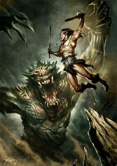 A fictional sword and sorcery hero that originated in pulp fiction magazine is Conan the Cimmerian, also known as Conan the Barbarian. Red Sonja, Conan Der Barbar, Conan The Destroyer, Dragons, Darkest Dungeon, Conan The Barbarian, Sword And Sorcery, Fantasy Artwork, Dark Fantasy