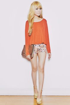 Discover this look wearing Light Orange Trendphile Shorts, Tan Sans, Sue Bags tagged hot pants - 060612 Orange You Glad by slumberdoll styled for Comfortable, Everyday in the Summer Fashion 101, Love Fashion, Korean Fashion, Spring Fashion, Fashion Outfits, Womens Fashion, Summer Outfits, Cute Outfits, Summer Wear