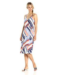 PARIS SUNDAY Womens Spaghetti Strap Midi Aline Wrap Dress Multi Stripe  Medium -- See this f3799c0dd