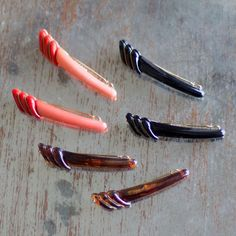 Vintage Feather Tail Barrette on Tige Boule: Available in Black, Coral, and Tortoise Shell