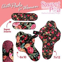 Cloth pads for women 6x10 7x12 in the hoop machine embroidery designs - Sweet Pea