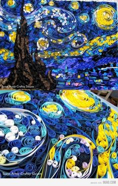 Van Gogh's starry Night with curled paper.