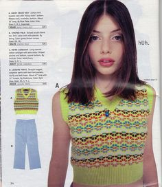 A neon (!!!) sweater vest that's just short enough to show off your new butterfly belly button ring. | 31 Things You Desperately Needed From The Delia's Summer '96 Catalog