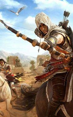 Aya and Bayek of Assassin's Creed Origins Arte Assassins Creed, Assassins Creed Origins, Assassins Creed Odyssey, Asesins Creed, All Assassin's Creed, Deutsche Girls, Assassin's Creed Wallpaper, Fantasy Warrior, Dark Fantasy