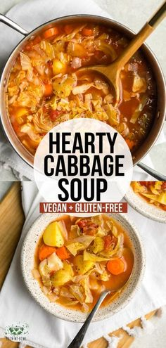 Vegan Soup Recipes: This hearty Cabbage Soup is loaded with Green Cabbage, Carrots, Yellow Potatoes, and a flavorful broth! A cozy plant-based soup for a chilly day. Cabbage Soup Recipes, Veggie Recipes, Whole Food Recipes, Vegetarian Recipes, Cooking Recipes, Healthy Recipes, Vegetarian Cabbage Soup, Lowfat Soup Recipes, Crockpot Cabbage Soup