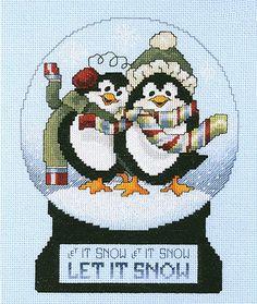 snow globe cross stitch.