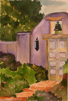 Original Watercolor by Susan Marie Fairclough, Mission Door, Unmatted 22X15